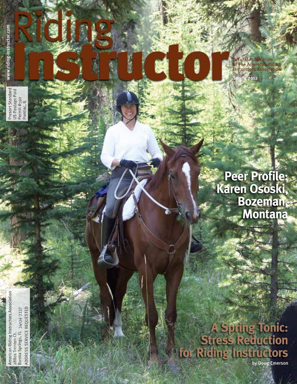 Riding Instructor magazine Spring 2012 with Karen on the cover